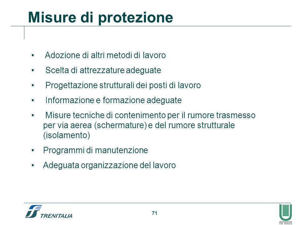 71 Misure di protezione Adozione di altri metodi di lavoro Scelta di attrezzature adeguate Progettazione strutturali dei posti di lavoro Informazione