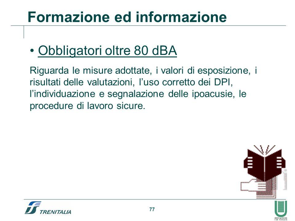 77 Formazione ed informazione Obbligatori oltre 80 dBA Riguarda le misure adottate, i valori di esposizione, i risultati delle valutazioni, luso corre