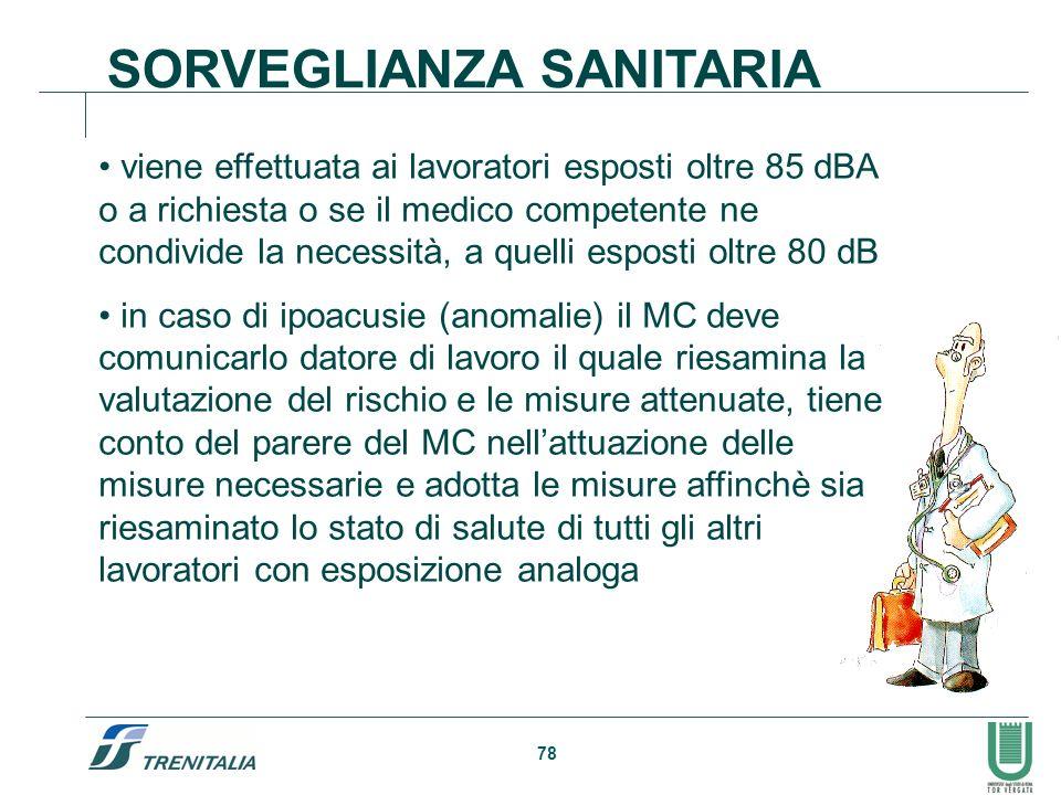 78 SORVEGLIANZA SANITARIA viene effettuata ai lavoratori esposti oltre 85 dBA o a richiesta o se il medico competente ne condivide la necessità, a que