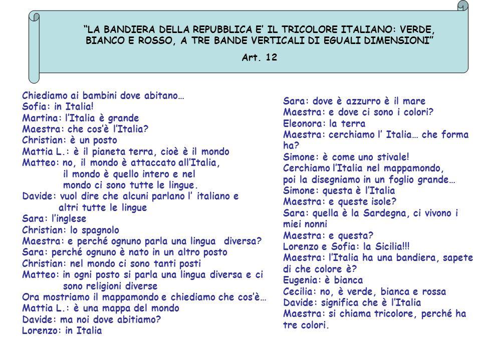 LA BANDIERA DELLA REPUBBLICA E IL TRICOLORE ITALIANO: VERDE, BIANCO E ROSSO, A TRE BANDE VERTICALI DI EGUALI DIMENSIONI Art. 12 Chiediamo ai bambini d
