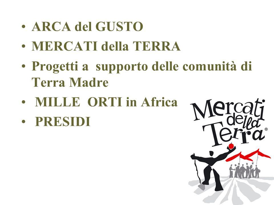 ARCA del GUSTO MERCATI della TERRA Progetti a supporto delle comunità di Terra Madre MILLE ORTI in Africa PRESIDI