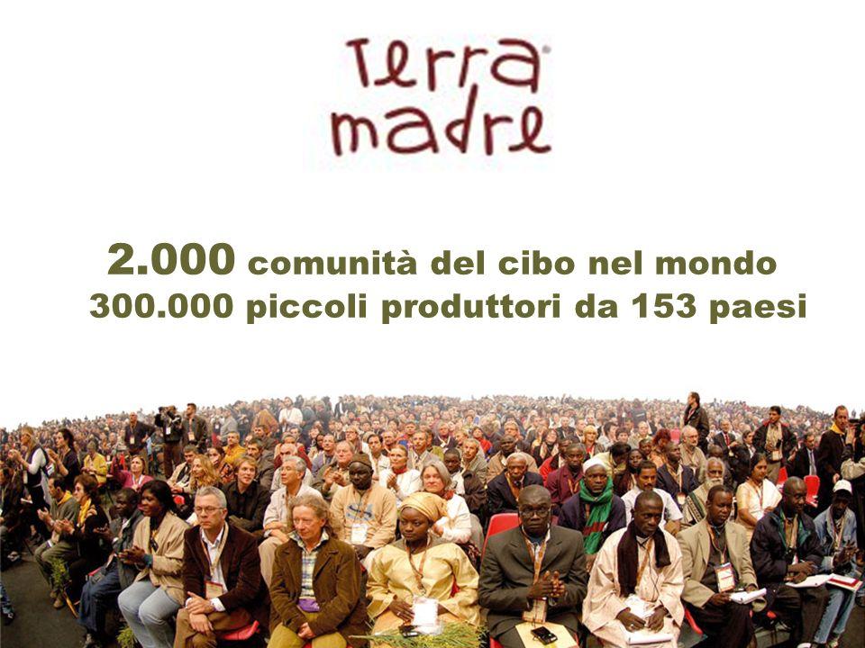 2.000 comunità del cibo nel mondo 300.000 piccoli produttori da 153 paesi