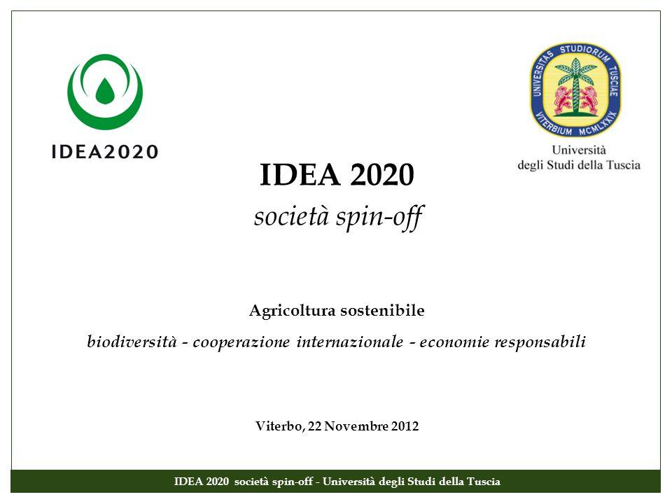 IDEA 2020 società spin-off Agricoltura sostenibile biodiversità - cooperazione internazionale - economie responsabili Viterbo, 22 Novembre 2012 IDEA 2
