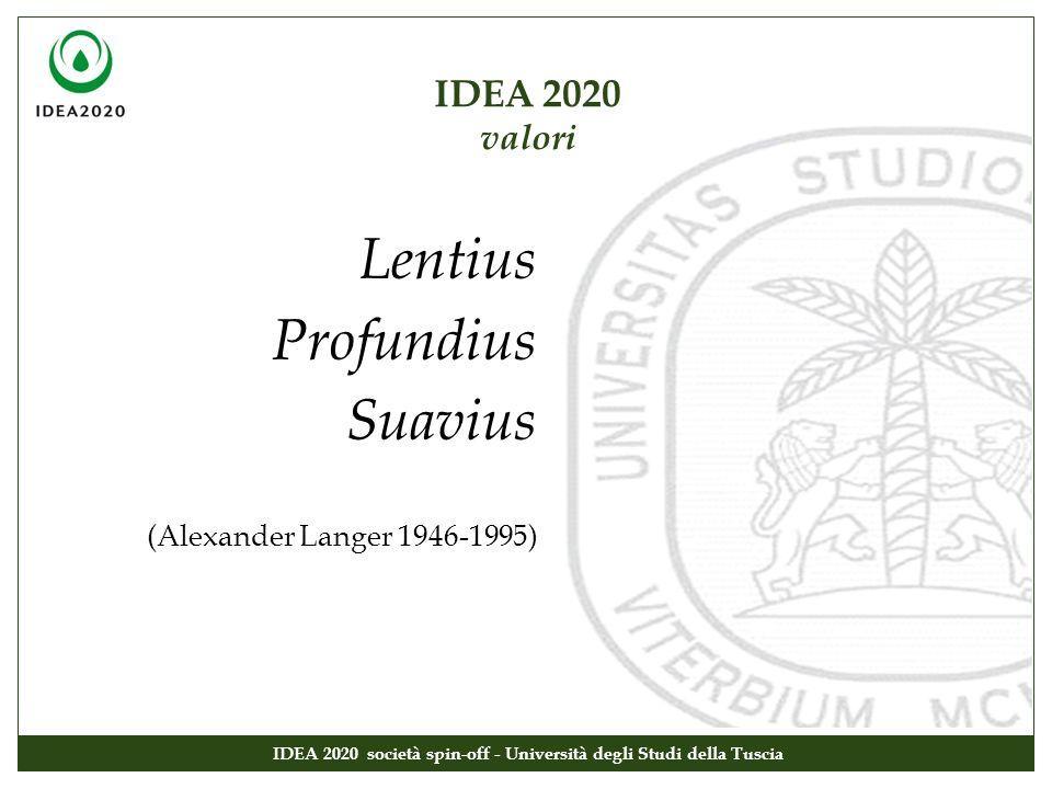 IDEA 2020 valori IDEA 2020 società spin-off - Università degli Studi della Tuscia Lentius Profundius Suavius (Alexander Langer 1946-1995)