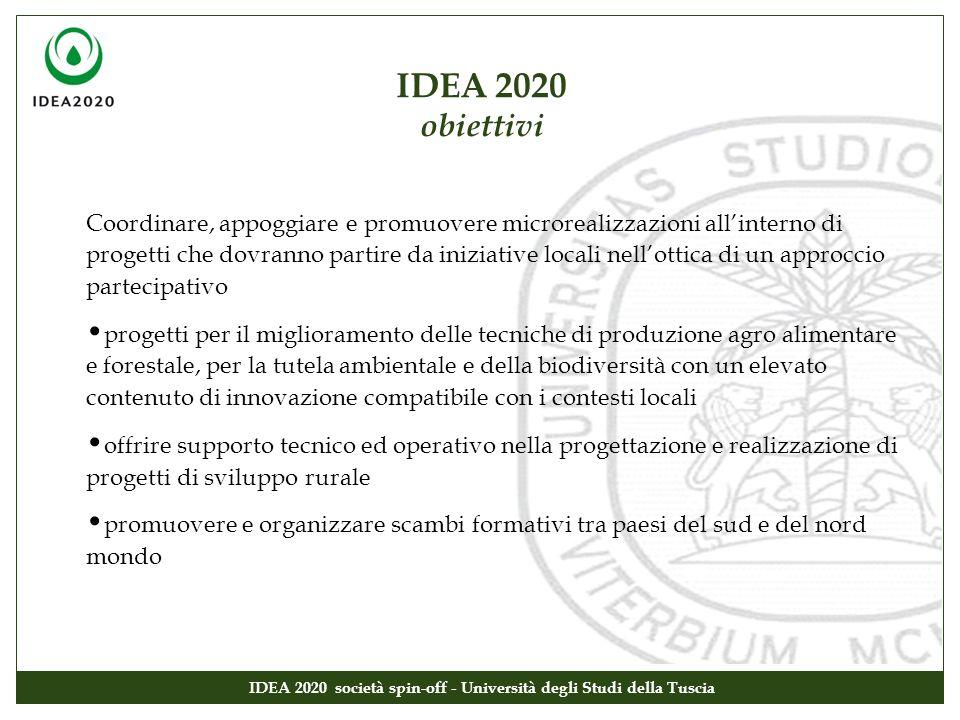 IDEA 2020 obiettivi IDEA 2020 società spin-off - Università degli Studi della Tuscia Coordinare, appoggiare e promuovere microrealizzazioni allinterno