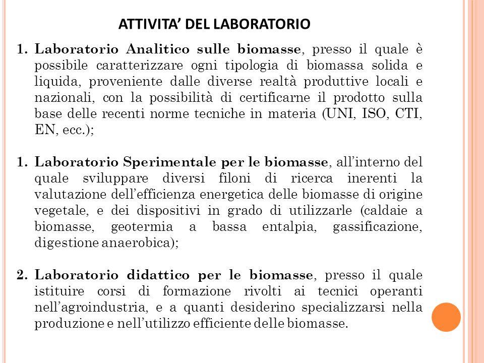 1. Laboratorio Analitico sulle biomasse, presso il quale è possibile caratterizzare ogni tipologia di biomassa solida e liquida, proveniente dalle div