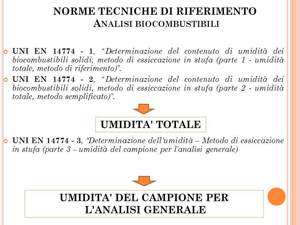 NORME TECNICHE DI RIFERIMENTO A NALISI BIOCOMBUSTIBILI UNI EN 14774 - 1,Determinazione del contenuto di umidità dei biocombustibili solidi, metodo di