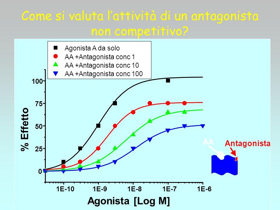 Come si valuta lattività di un antagonista non competitivo? AA Antagonista 1E-101E-91E-81E-71E-6 0 25 50 75 100 % Effetto Agonista [Log M] Agonista A