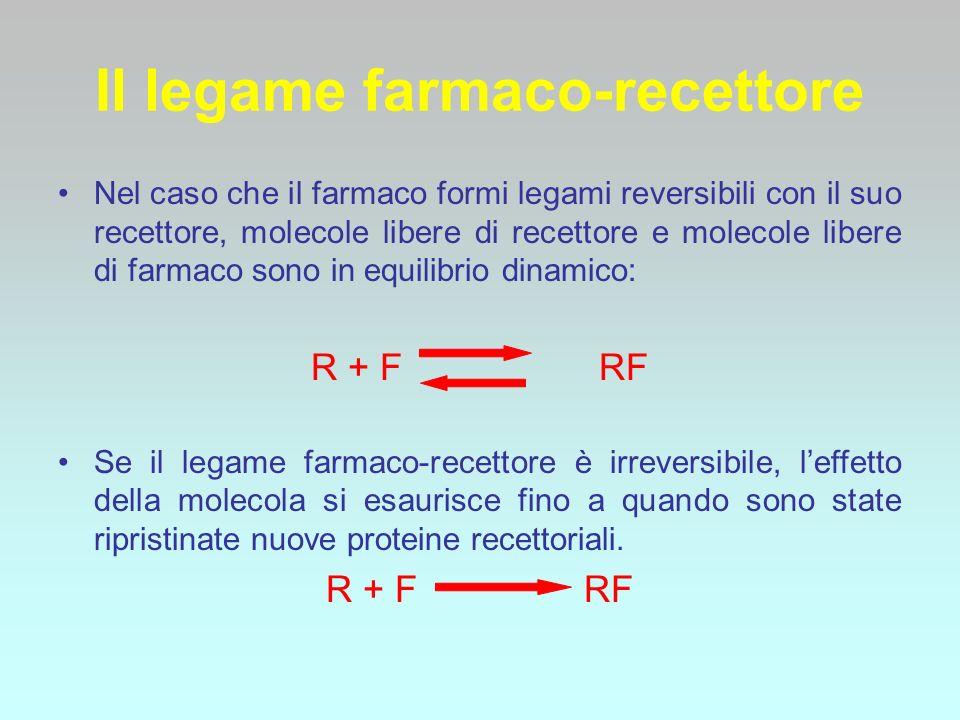 La percentuale di farmaco legato al recettore (e quindi la sua efficacia) dipende dal numero di molecole del farmaco presenti nel sito recettoriale, dal numero dei recettori e dalla affinità del farmaco per il recettore stesso (maggior affinità, maggior legame)