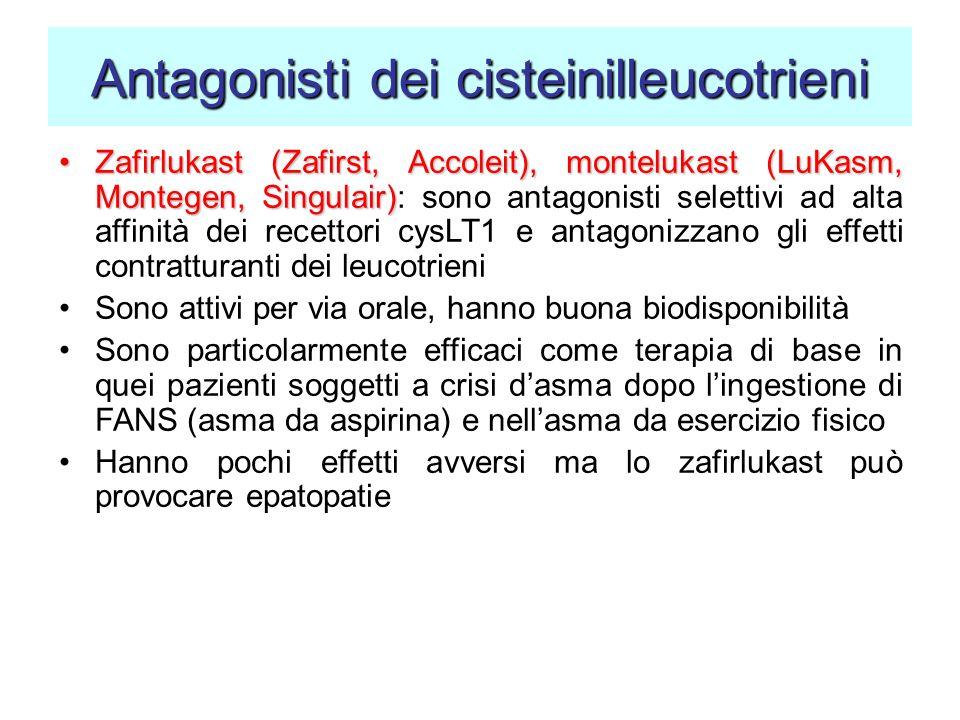Antagonisti dei cisteinilleucotrieni Zafirlukast (Zafirst, Accoleit), montelukast (LuKasm, Montegen, Singulair)Zafirlukast (Zafirst, Accoleit), montel