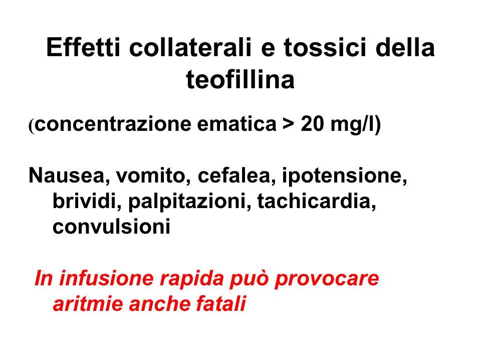 Effetti collaterali e tossici della teofillina ( concentrazione ematica > 20 mg/l) Nausea, vomito, cefalea, ipotensione, brividi, palpitazioni, tachic