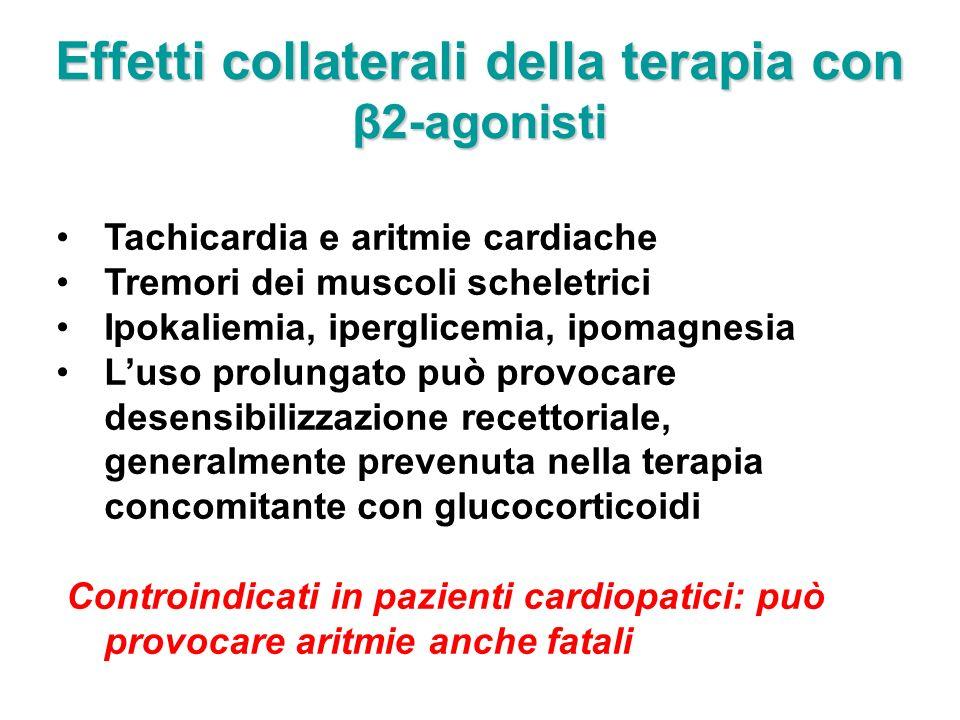Effetti collaterali della terapia con β2-agonisti Tachicardia e aritmie cardiache Tremori dei muscoli scheletrici Ipokaliemia, iperglicemia, ipomagnes