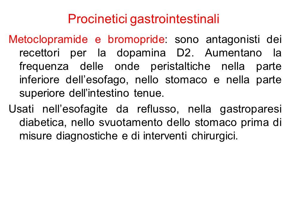 Procinetici gastrointestinali Metoclopramide e bromopride: sono antagonisti dei recettori per la dopamina D2. Aumentano la frequenza delle onde perist