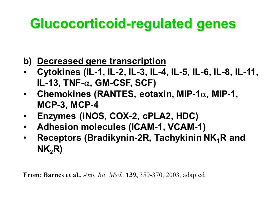 Glucocorticoid-regulated genes b)Decreased gene transcription Cytokines (IL-1, IL-2, IL-3, IL-4, IL-5, IL-6, IL-8, IL-11, IL-13, TNF-, GM-CSF, SCF) Ch