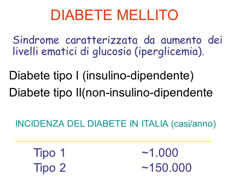 DIABETE MELLITO Sindrome caratterizzata da aumento dei livelli ematici di glucosio (iperglicemia). Diabete tipo I (insulino-dipendente) Diabete tipo I