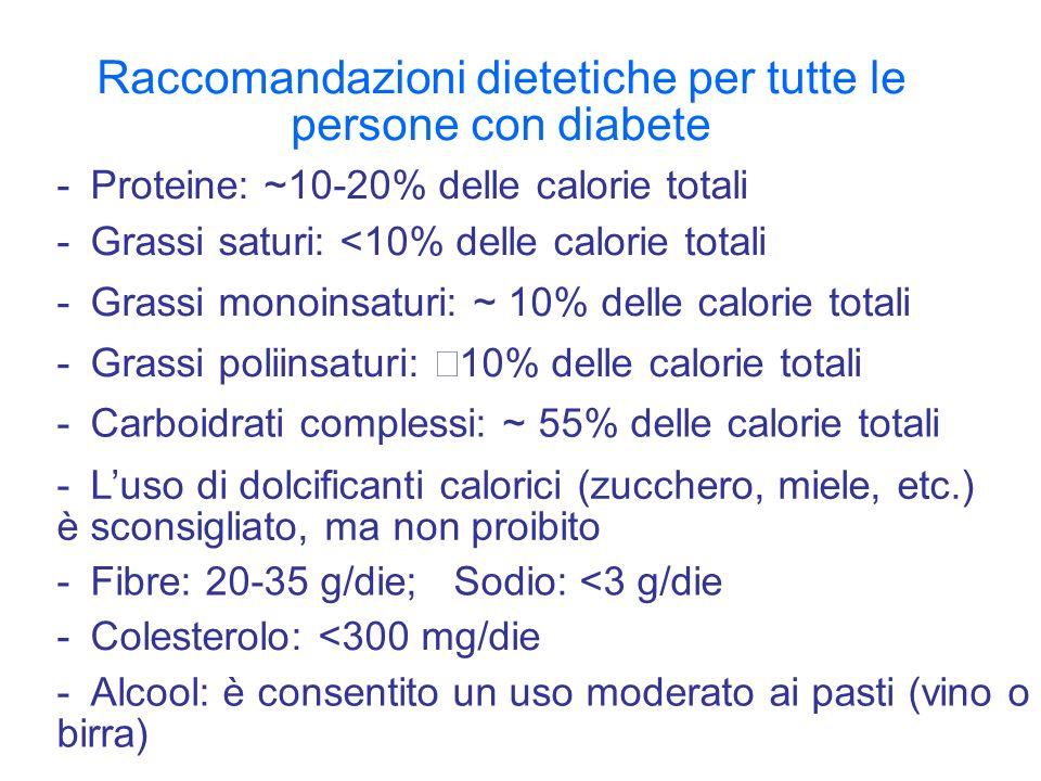 Raccomandazioni dietetiche per tutte le persone con diabete -Proteine: ~10-20% delle calorie totali -Grassi saturi: <10% delle calorie totali -Grassi