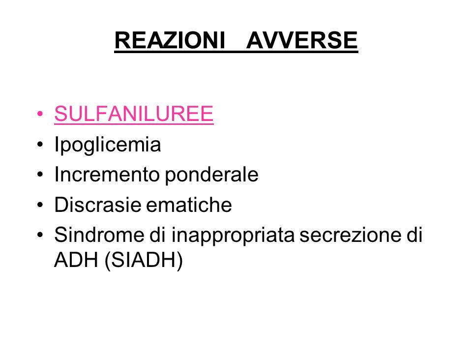 REAZIONI AVVERSE SULFANILUREE Ipoglicemia Incremento ponderale Discrasie ematiche Sindrome di inappropriata secrezione di ADH (SIADH)