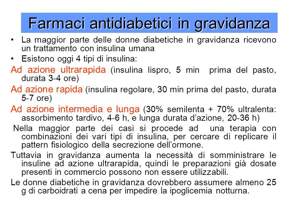 Farmaci antidiabetici in gravidanza La maggior parte delle donne diabetiche in gravidanza ricevono un trattamento con insulina umana Esistono oggi 4 tipi di insulina: Ad azione ultrarapida (insulina lispro, 5 min prima del pasto, durata 3-4 ore) Ad azione rapida (insulina regolare, 30 min prima del pasto, durata 5-7 ore) Ad azione intermedia e lunga (30% semilenta + 70% ultralenta: assorbimento tardivo, 4-6 h, e lunga durata dazione, 20-36 h) Nella maggior parte dei casi si procede ad una terapia con combinazioni dei vari tipi di insulina, per cercare di replicare il pattern fisiologico della secrezione dellormone.