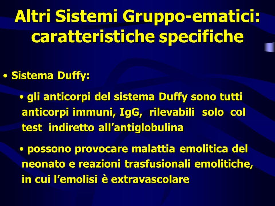 Altri Sistemi Gruppo-ematici: caratteristiche specifiche Sistema Duffy: gli anticorpi del sistema Duffy sono tutti anticorpi immuni, IgG, rilevabili s