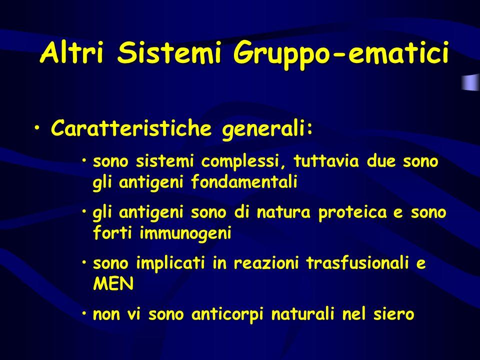 Altri Sistemi Gruppo-ematici Caratteristiche generali: sono sistemi complessi, tuttavia due sono gli antigeni fondamentali gli antigeni sono di natura