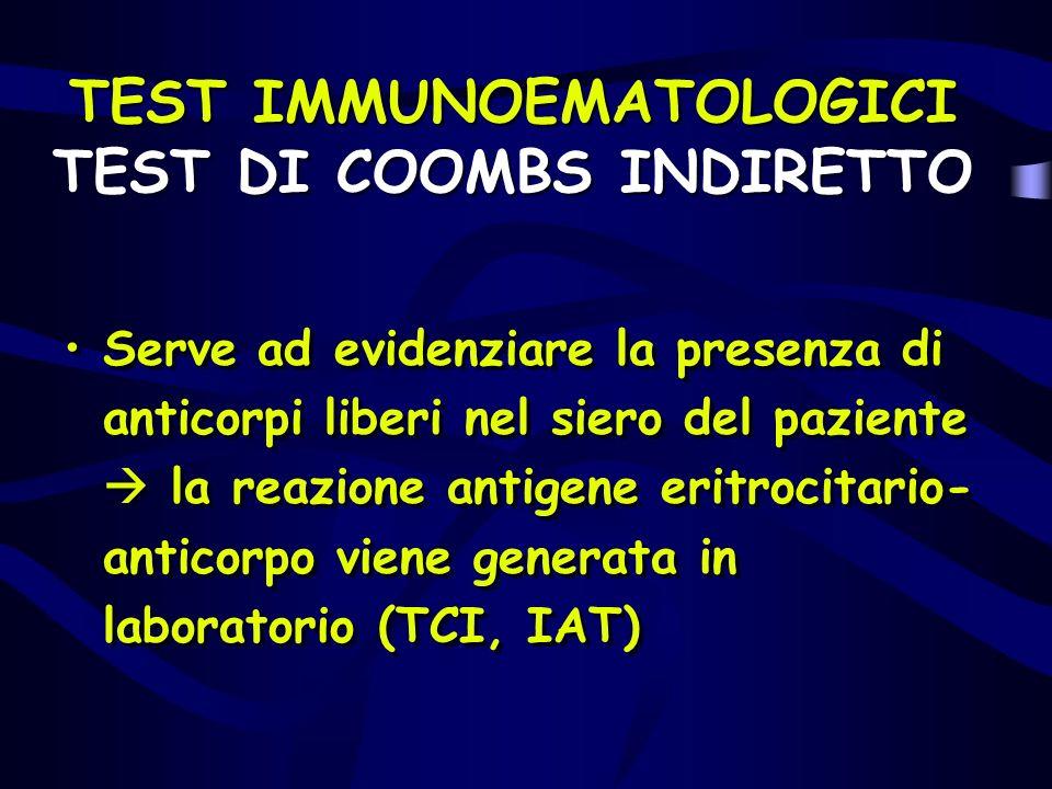 TEST IMMUNOEMATOLOGICI TEST DI COOMBS INDIRETTO Serve ad evidenziare la presenza di anticorpi liberi nel siero del paziente la reazione antigene eritr