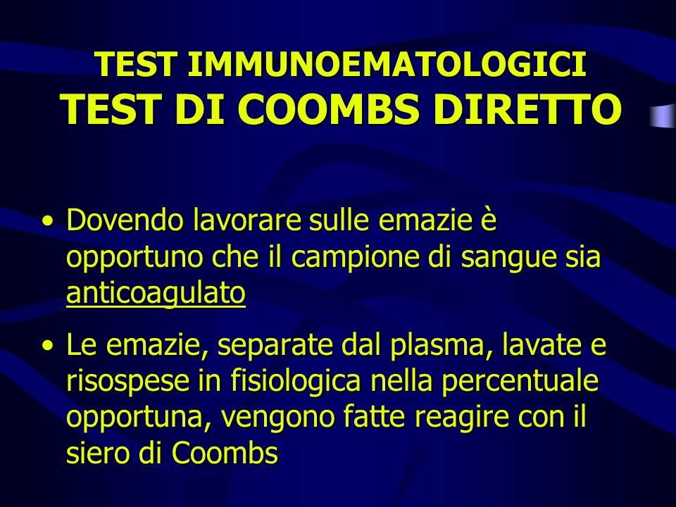 TEST IMMUNOEMATOLOGICI TEST DI COOMBS DIRETTO Dovendo lavorare sulle emazie è opportuno che il campione di sangue sia anticoagulato Le emazie, separat