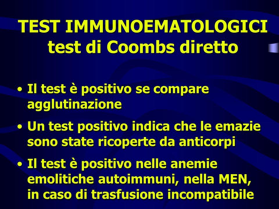 TEST IMMUNOEMATOLOGICI test di Coombs diretto Il test è positivo se compare agglutinazione Un test positivo indica che le emazie sono state ricoperte
