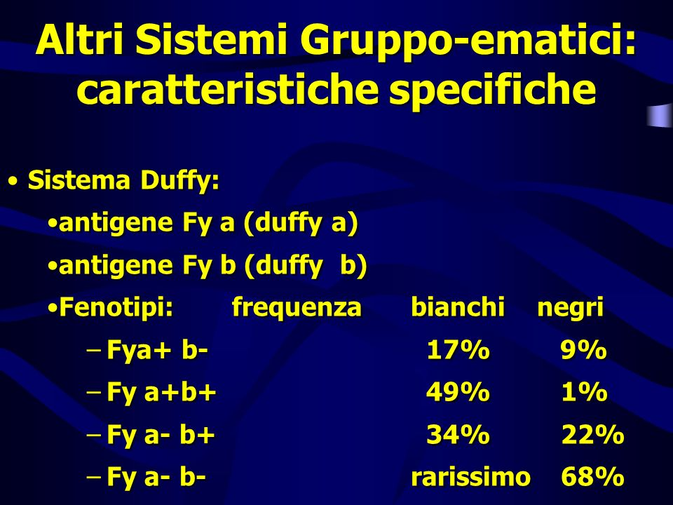 Altri Sistemi Gruppo-ematici: caratteristiche specifiche Sistema Duffy: antigene Fy a (duffy a) antigene Fy b (duffy b) Fenotipi: frequenzabianchi neg