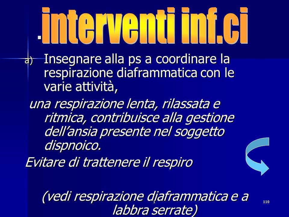 1110. a) Insegnare alla ps a coordinare la respirazione diaframmatica con le varie attività, una respirazione lenta, rilassata e ritmica, contribuisce