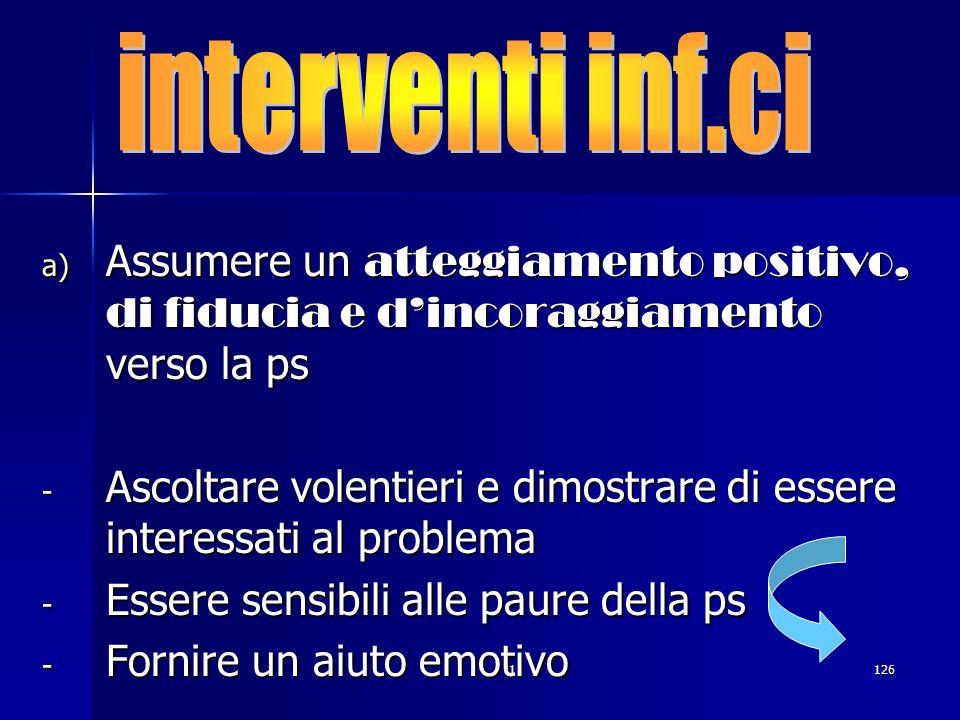 1126. a) Assumere un atteggiamento positivo, di fiducia e dincoraggiamento verso la ps - Ascoltare volentieri e dimostrare di essere interessati al pr