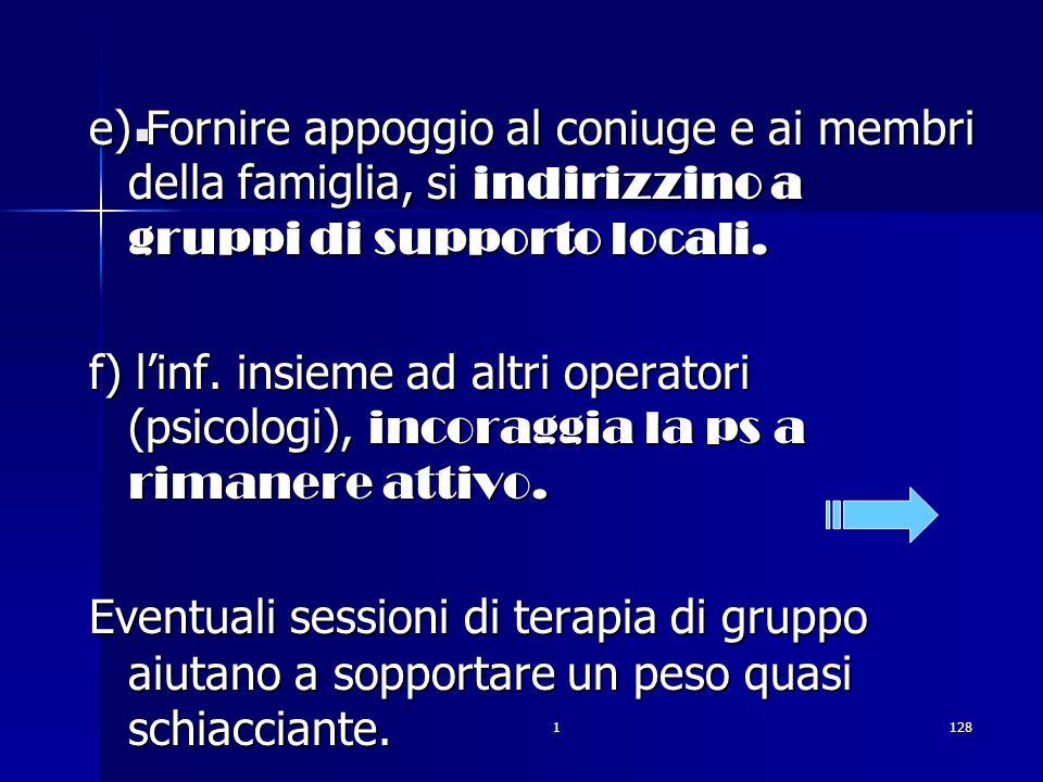 1128. e) Fornire appoggio al coniuge e ai membri della famiglia, si indirizzino a gruppi di supporto locali. f) linf. insieme ad altri operatori (psic