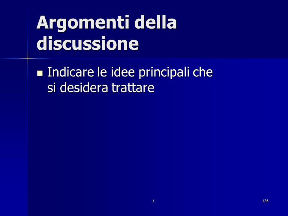 1136 Argomenti della discussione Indicare le idee principali che si desidera trattare Indicare le idee principali che si desidera trattare