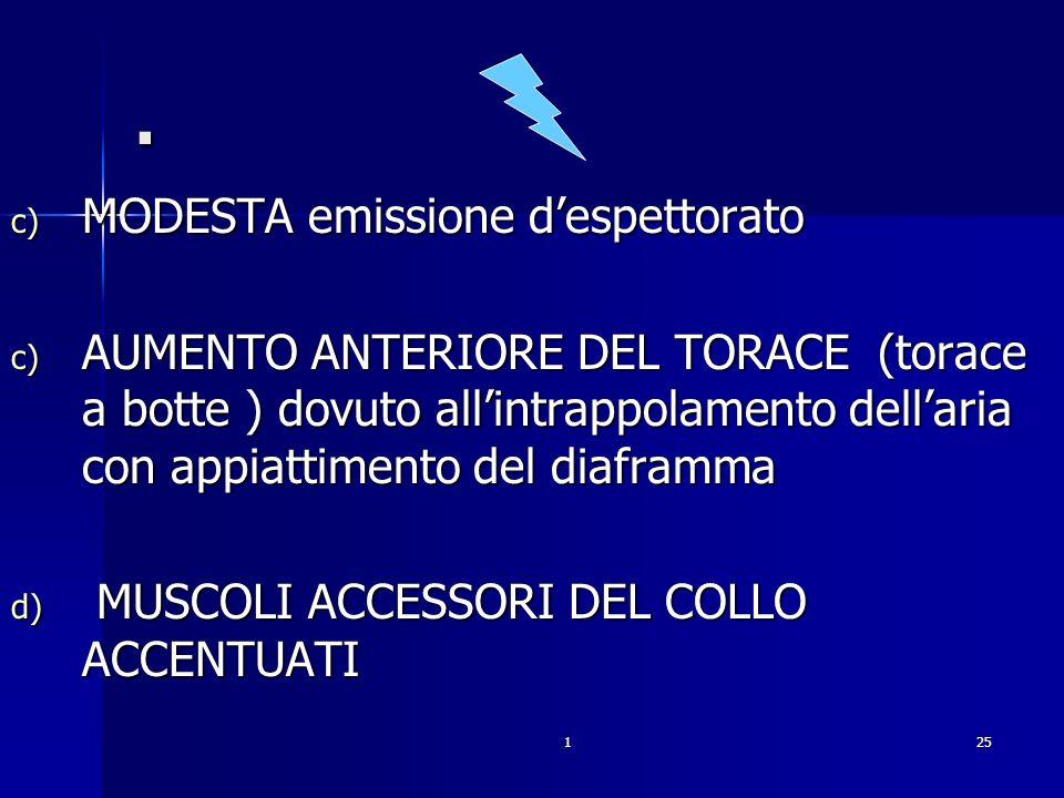 125. c) MODESTA emissione despettorato c) AUMENTO ANTERIORE DEL TORACE (torace a botte ) dovuto allintrappolamento dellaria con appiattimento del diaf