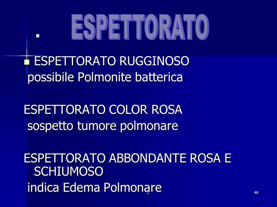 148. ESPETTORATO RUGGINOSO ESPETTORATO RUGGINOSO possibile Polmonite batterica possibile Polmonite batterica ESPETTORATO COLOR ROSA sospetto tumore po
