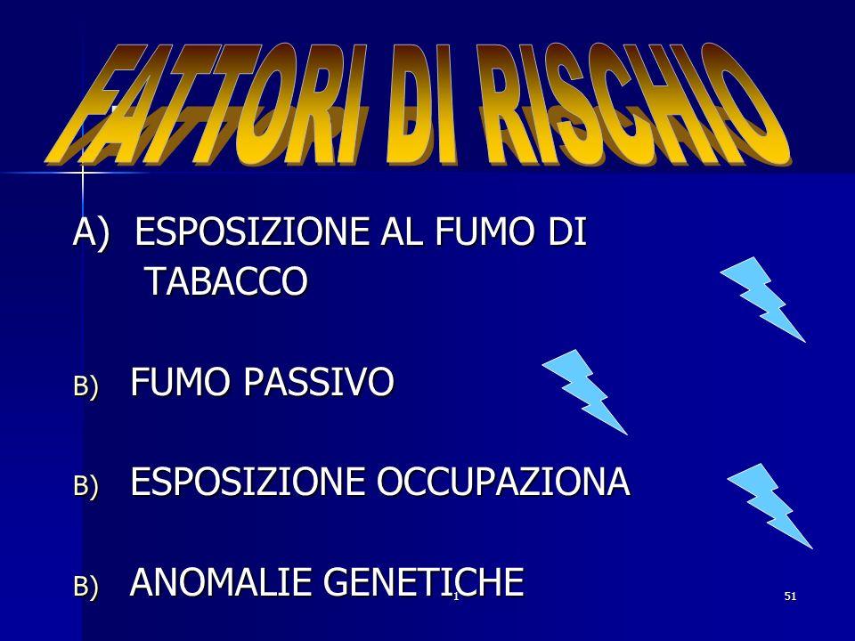 151. A) ESPOSIZIONE AL FUMO DI TABACCO TABACCO B) FUMO PASSIVO B) ESPOSIZIONE OCCUPAZIONA B) ANOMALIE GENETICHE