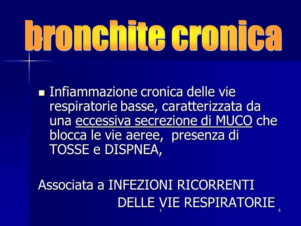 16. Infiammazione cronica delle vie respiratorie basse, caratterizzata da una eccessiva secrezione di MUCO che blocca le vie aeree, presenza di TOSSE