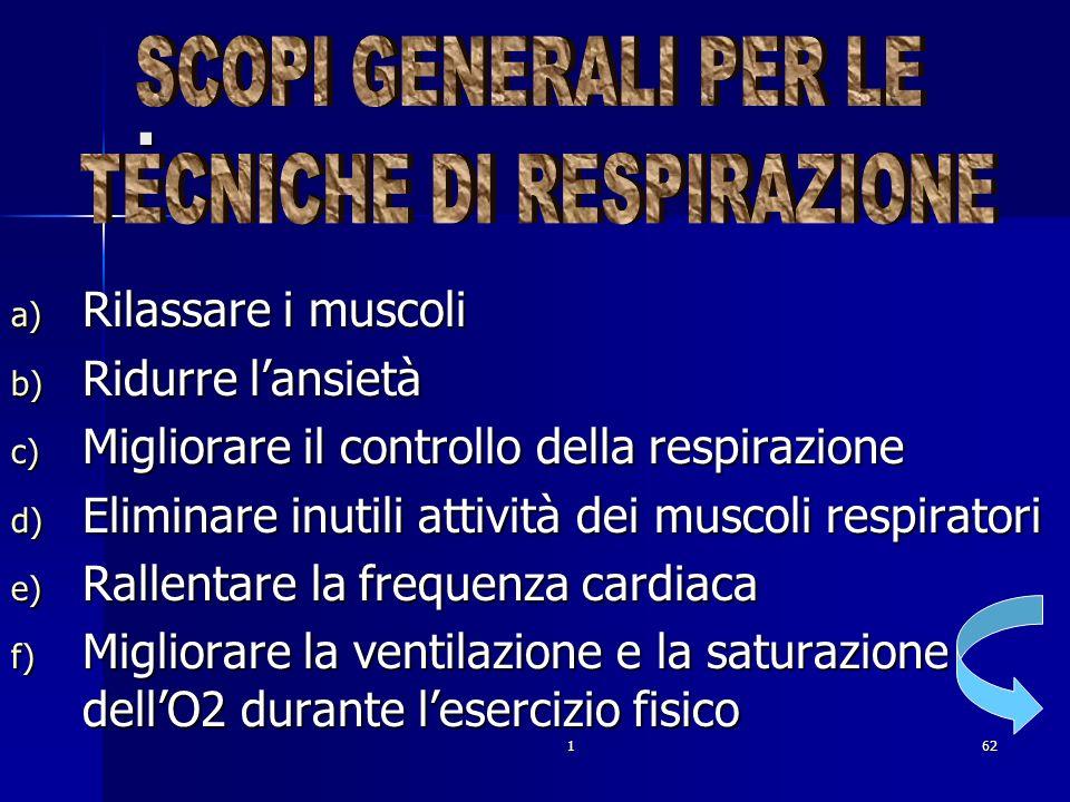 162. a) Rilassare i muscoli b) Ridurre lansietà c) Migliorare il controllo della respirazione d) Eliminare inutili attività dei muscoli respiratori e)