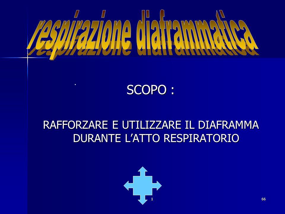166. SCOPO : RAFFORZARE E UTILIZZARE IL DIAFRAMMA DURANTE LATTO RESPIRATORIO.