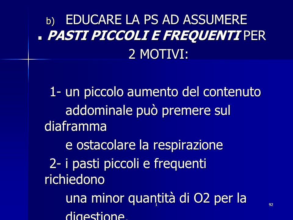 192. b) EDUCARE LA PS AD ASSUMERE PASTI PICCOLI E FREQUENTI PER 2 MOTIVI: 2 MOTIVI: 1- un piccolo aumento del contenuto 1- un piccolo aumento del cont