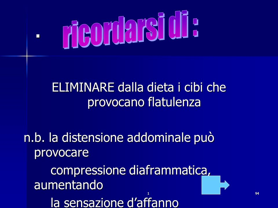 194. ELIMINARE dalla dieta i cibi che provocano flatulenza n.b. la distensione addominale può provocare compressione diaframmatica, aumentando compres