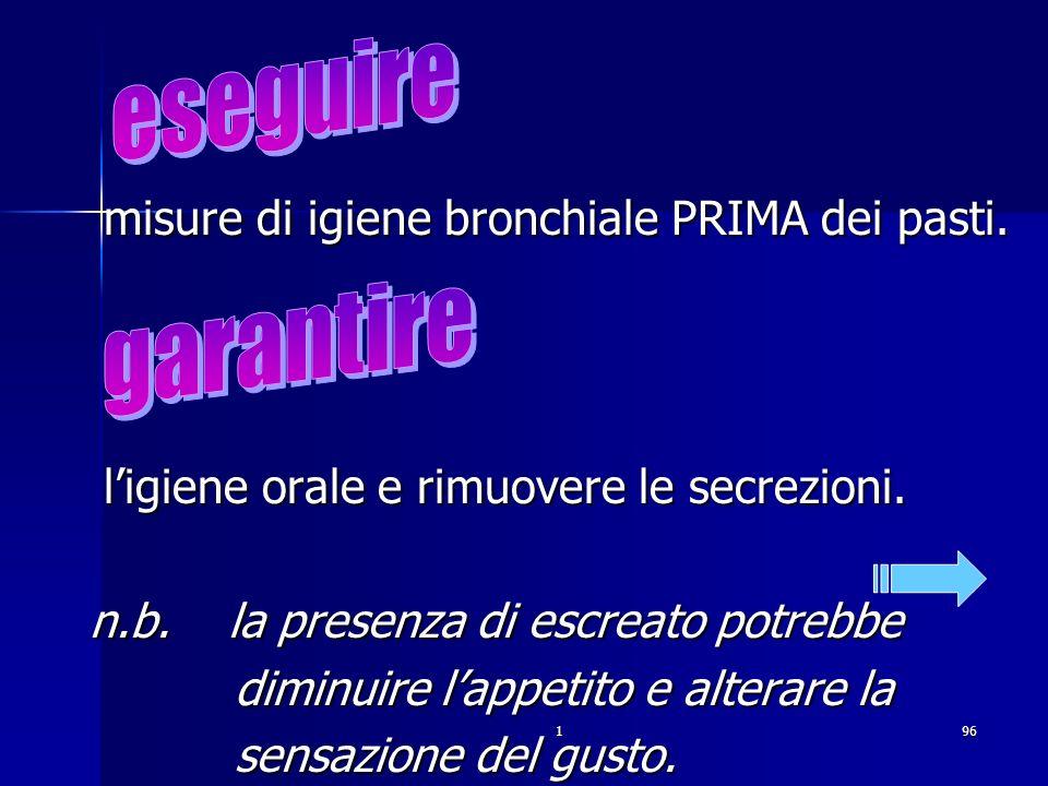 196. misure di igiene bronchiale PRIMA dei pasti. misure di igiene bronchiale PRIMA dei pasti. ligiene orale e rimuovere le secrezioni. ligiene orale