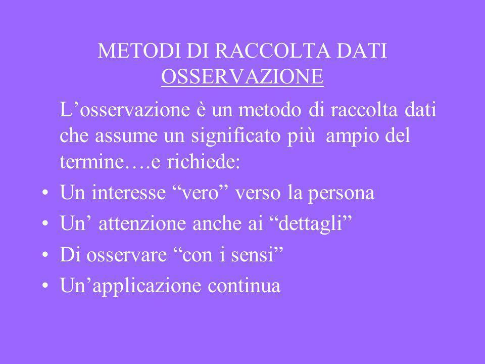METODI DI RACCOLTA DATI OSSERVAZIONE Losservazione è un metodo di raccolta dati che assume un significato più ampio del termine….e richiede: Un intere