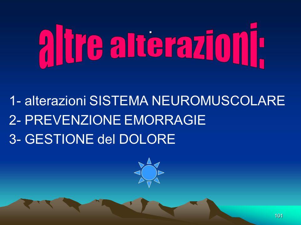 101. 1- alterazioni SISTEMA NEUROMUSCOLARE 2- PREVENZIONE EMORRAGIE 3- GESTIONE del DOLORE