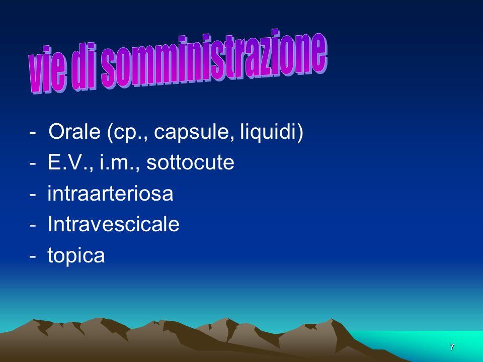7. - Orale (cp., capsule, liquidi) -E.V., i.m., sottocute -intraarteriosa -Intravescicale -topica