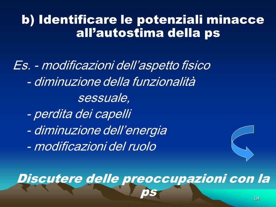 84. b) Identificare le potenziali minacce allautostima della ps Es. - modificazioni dellaspetto fisico - diminuzione della funzionalità sessuale, - pe
