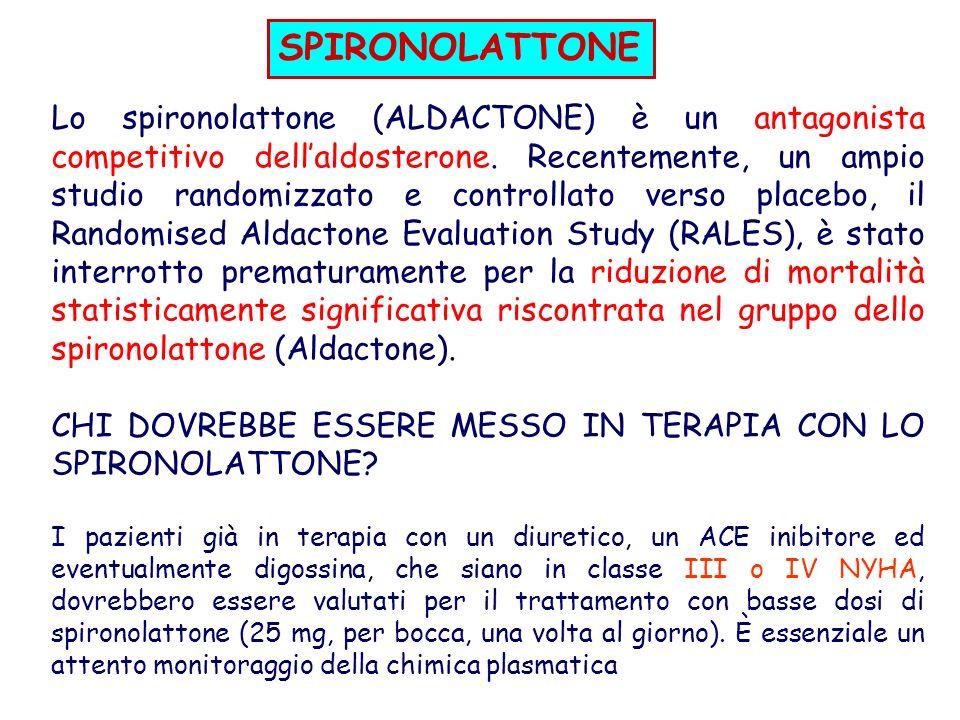 Lo spironolattone (ALDACTONE) è un antagonista competitivo dellaldosterone.
