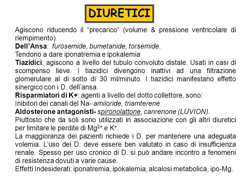 Agiscono riducendo il precarico (volume & pressione ventricolare di riempimento) DellAnsa: furosemide, bumetanide, torsemide.