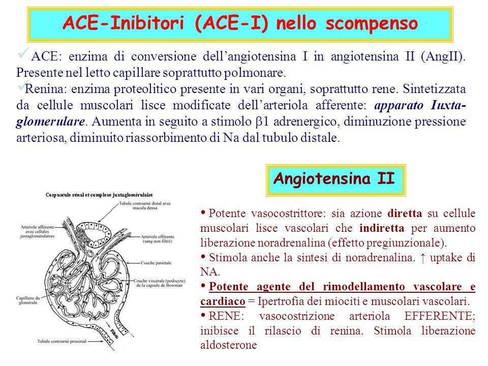 ACE-Inibitori (ACE-I) nello scompenso ACE: enzima di conversione dellangiotensina I in angiotensina II (AngII).