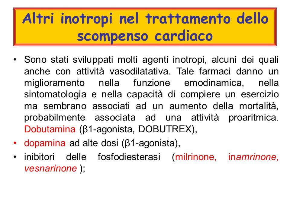 Altri inotropi nel trattamento dello scompenso cardiaco Sono stati sviluppati molti agenti inotropi, alcuni dei quali anche con attività vasodilatativa.