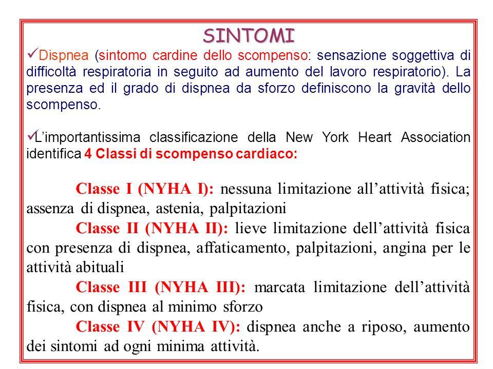 SINTOMI Dispnea (sintomo cardine dello scompenso: sensazione soggettiva di difficoltà respiratoria in seguito ad aumento del lavoro respiratorio).